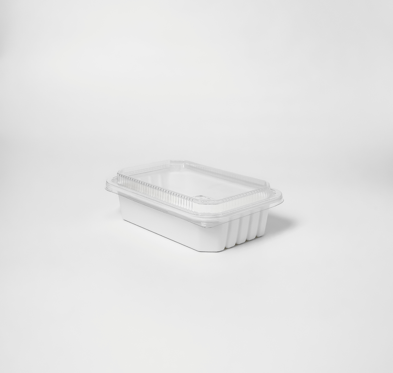 กล่องอาหารเยื่อธรรมชาติ Hybrid ฝาใส 600ml