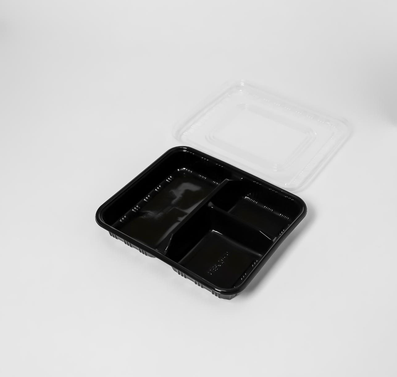 กล่องอาหารพลาสติก 3 ช่อง 800ml (ช่องตรง)