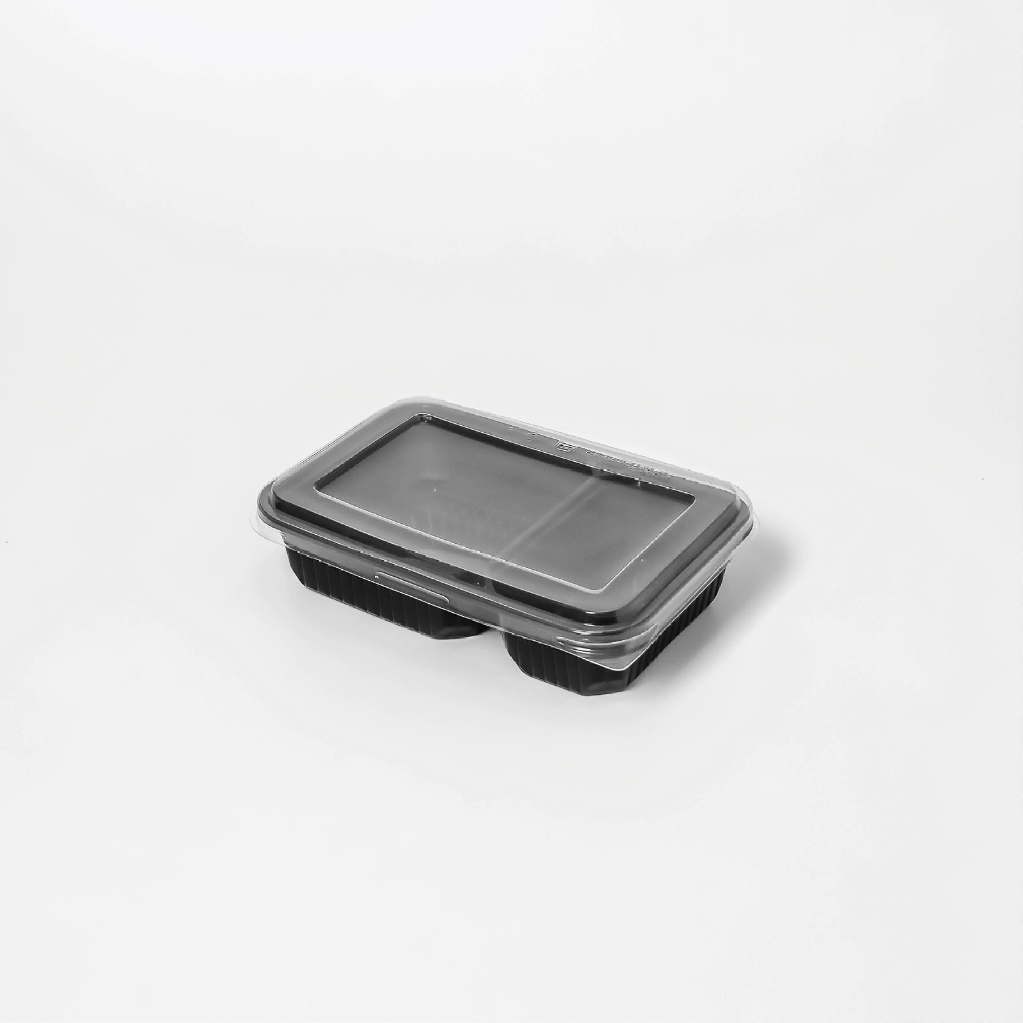 กล่องอาหารพลาสติก 2 ช่อง 500ml (ฝาไร้ฝ้า)