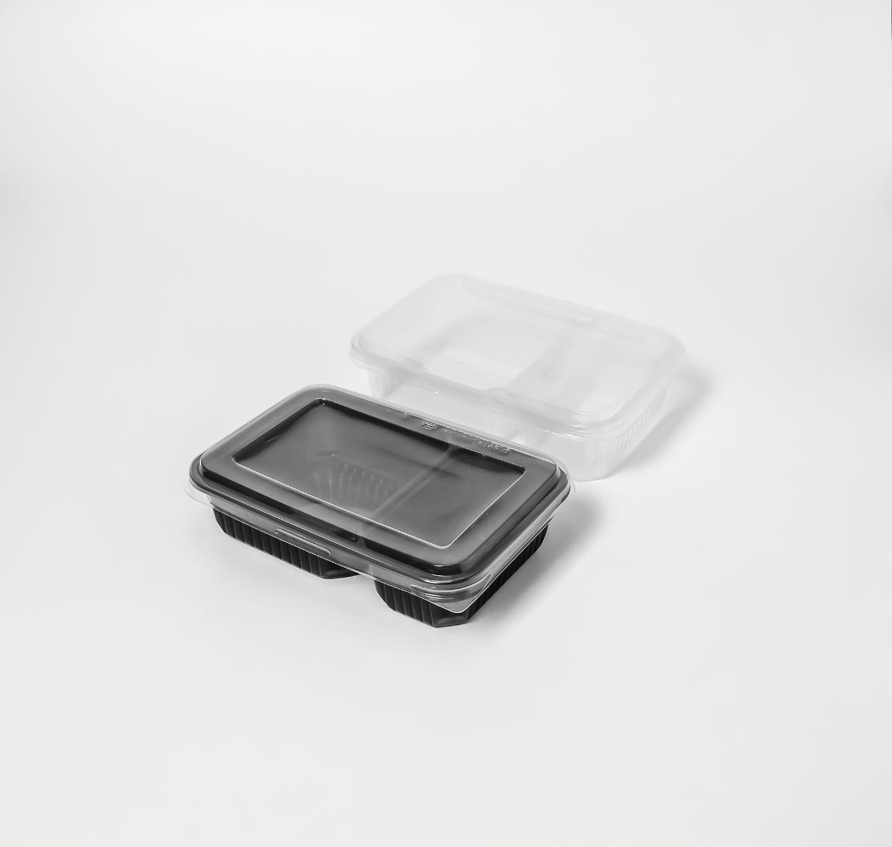 กล่องอาหารพลาสติก 2 ช่อง 650ml (ฝาไร้ฝ้า)