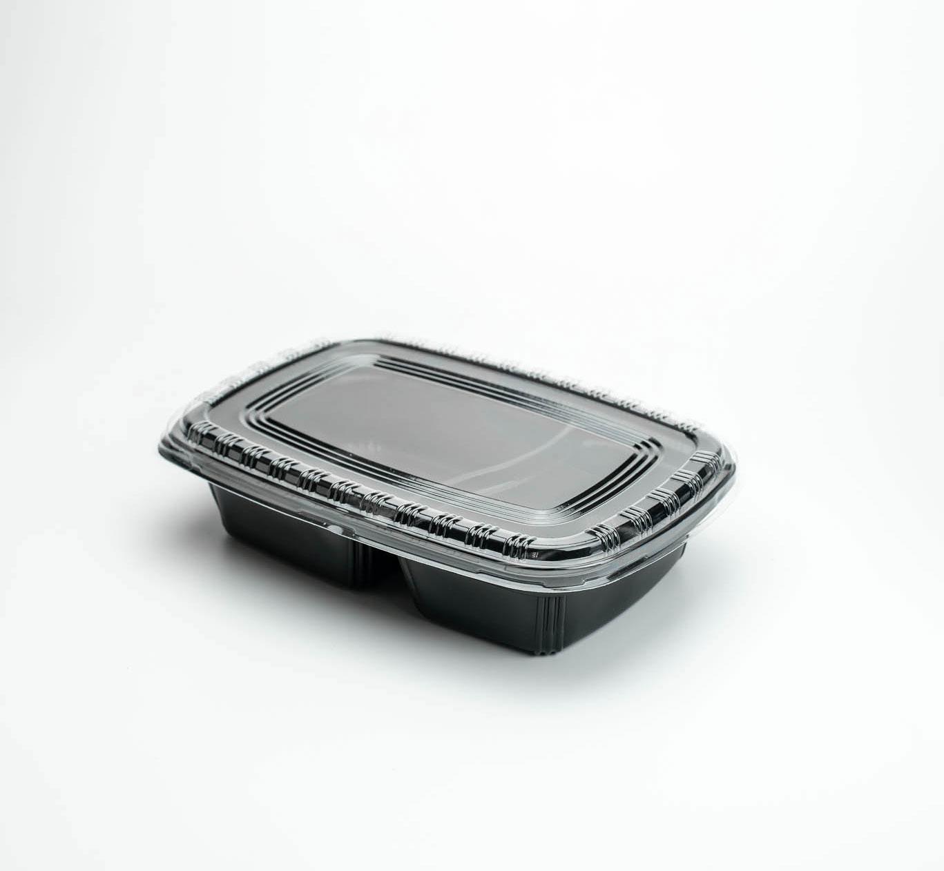 กล่องอาหารพลาสติก 2 ช่อง 750ml (ฝาใสไร้ฝ้า)