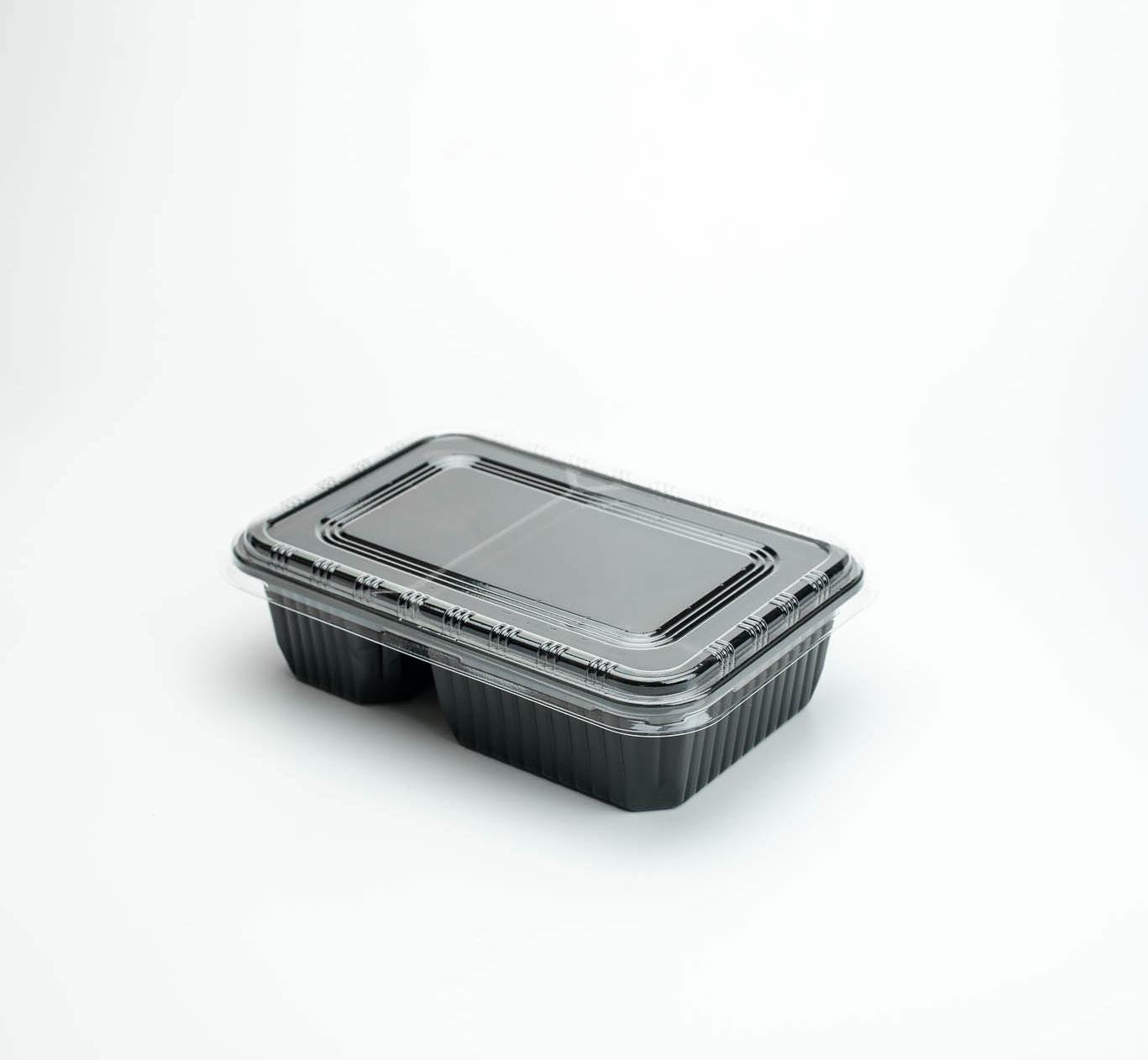 กล่องอาหารพลาสติก 2 ช่อง 650ml (ฝาใสไร้ฝ้า)