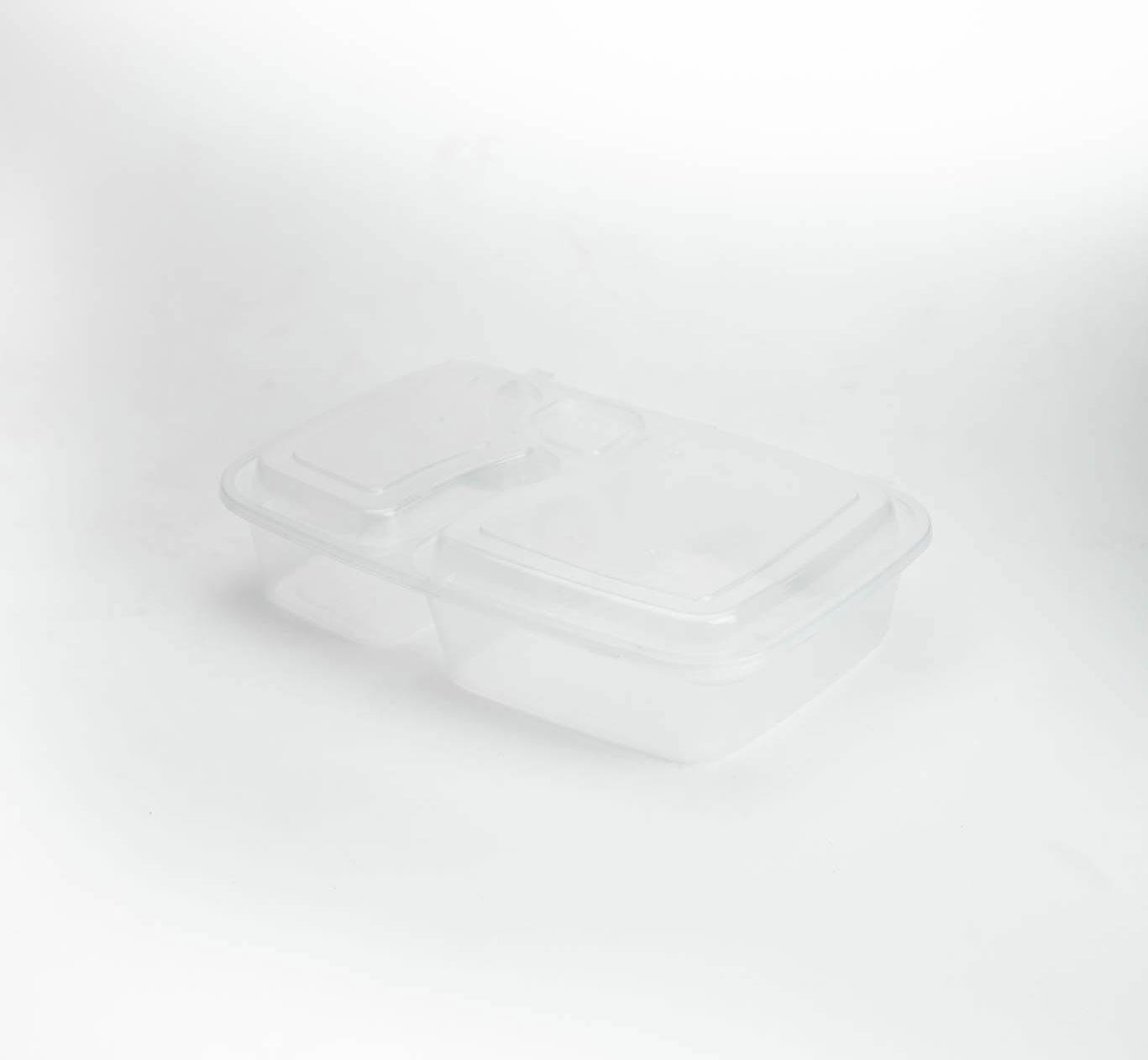 กล่องพลาสติก 2 ช่อง + ช่องน้ำจิ้ม 1000ml (ฝาพับ)