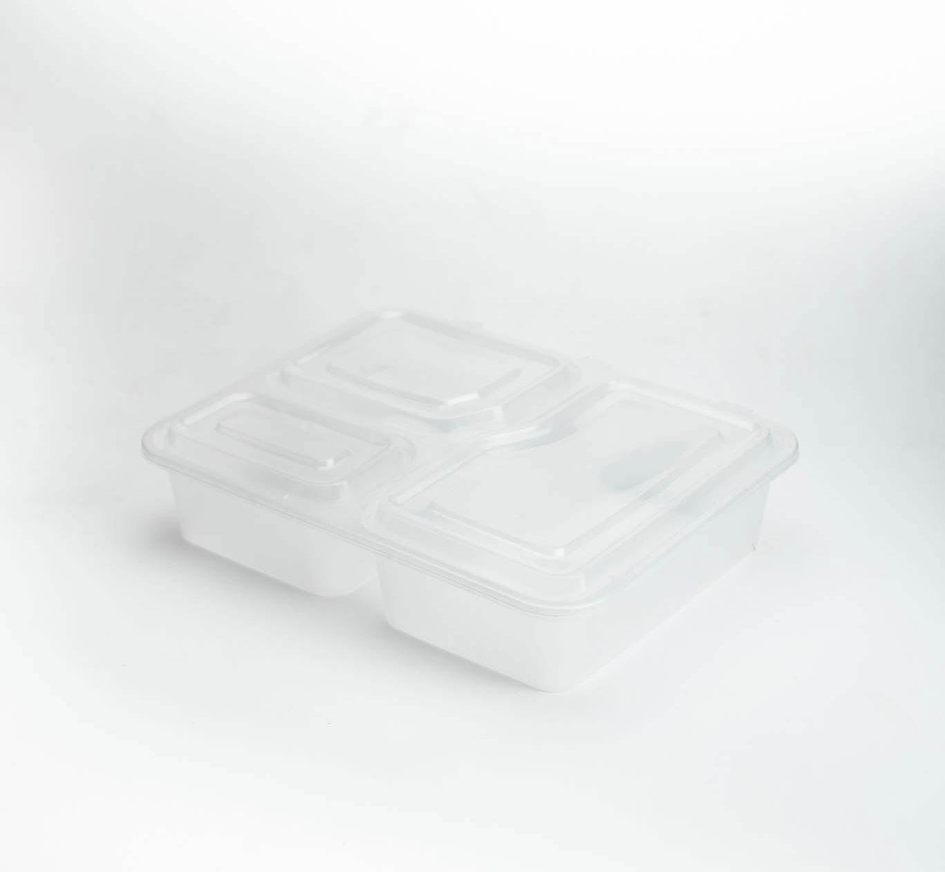 กล่องอาหารพลาสติกใส 3 ช่อง 1000ml (ฝาพับแบบ2)