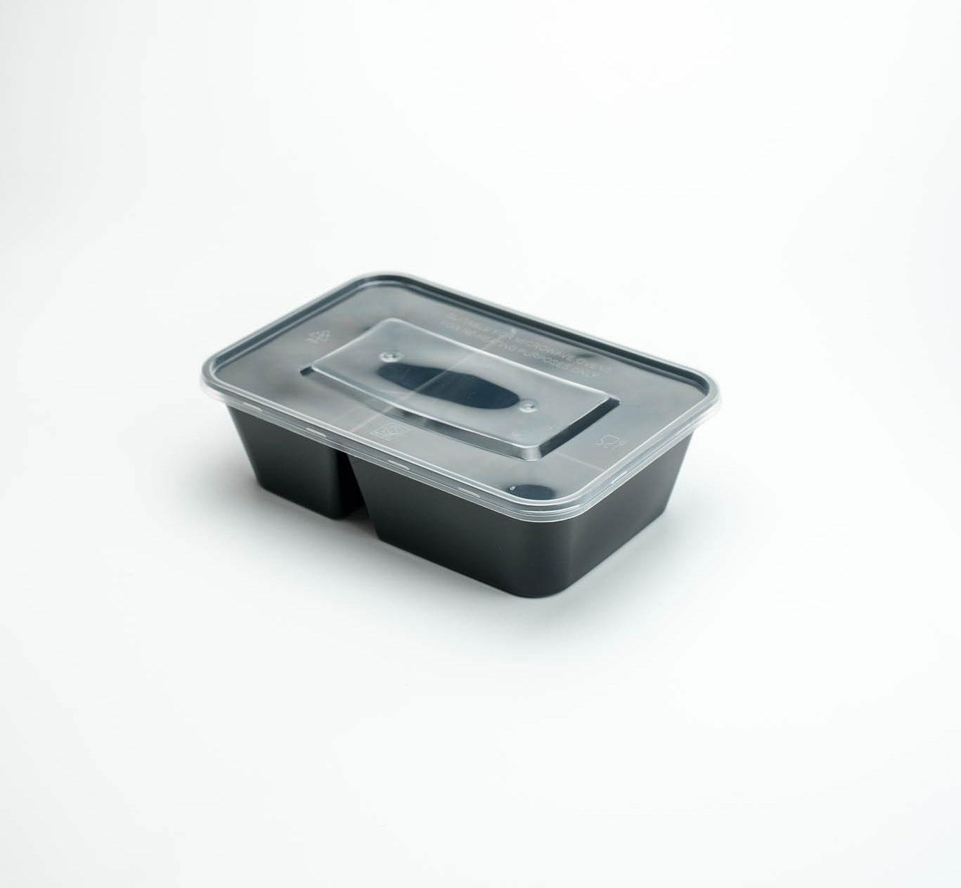 กล่องอาหารพลาสติก 2 ช่อง 650ml