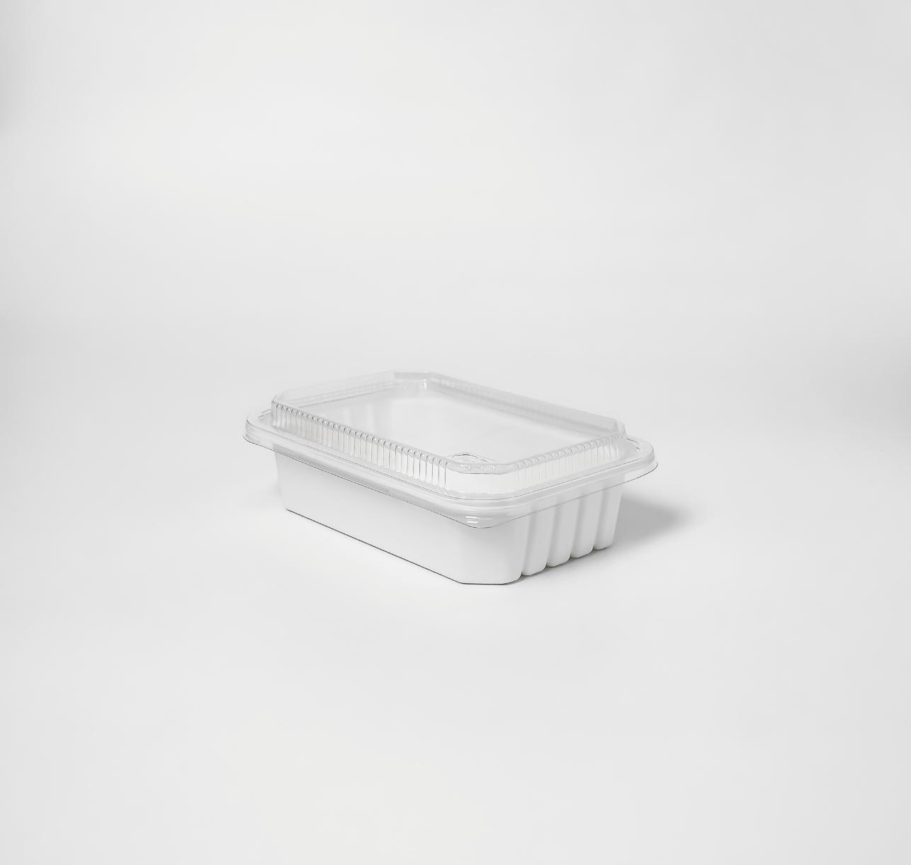 กล่องอาหารเยื่อธรรมชาติ Eco Hybrid ฝาใส 600ml