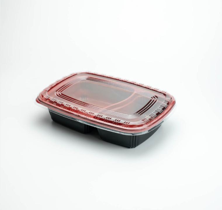กล่องอาหารพลาสติก 2 ช่อง 750ml สีแดง (ฝาใสไร้ฝ้า)