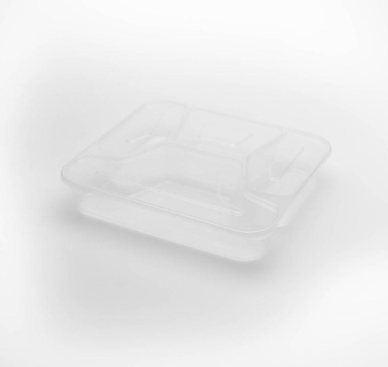 กล่องอาหารพลาสติกใส 4 ช่อง simple 1000ml (ฝาพับ)