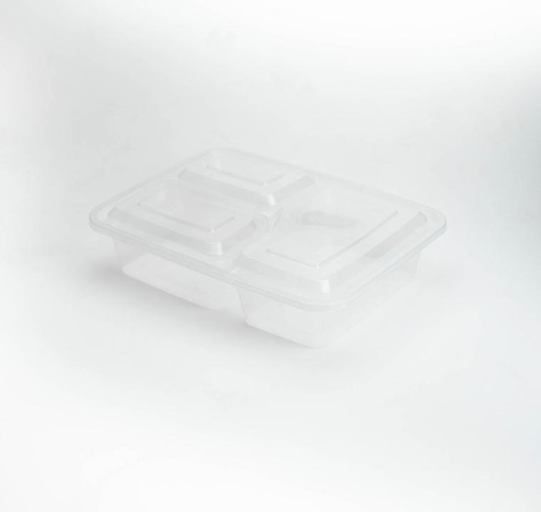 กล่องอาหารพลาสติกใส 3 ช่อง simple 1000ml (ฝาพับแบบ2)