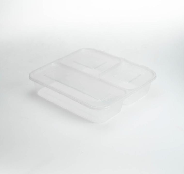 กล่องอาหารพลาสติกใส 3 ช่อง simple 1000ml (ฝาพับแบบ1)