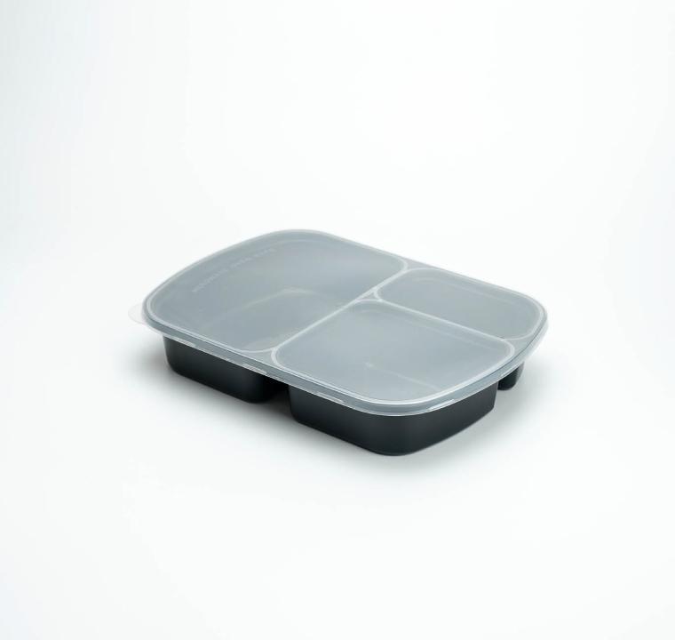 กล่องอาหารพลาสติก 3 ช่อง premium 800ml (ทรงมุมมน)