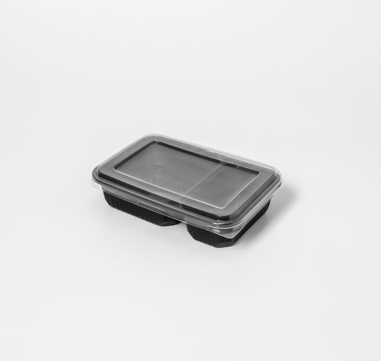 กล่องอาหารพลาสติก 2 ช่อง simple 500ml (ฝาไร้ฝ้า)