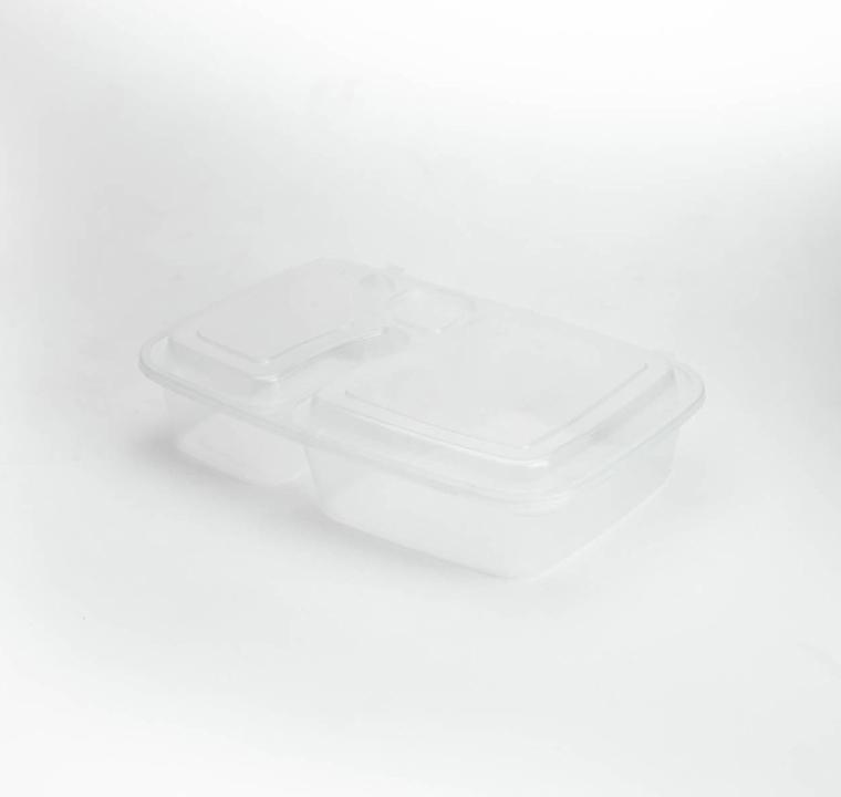 กล่องพลาสติก 2 ช่อง + ช่องน้ำจิ้ม simple 1000ml (ฝาพับ)