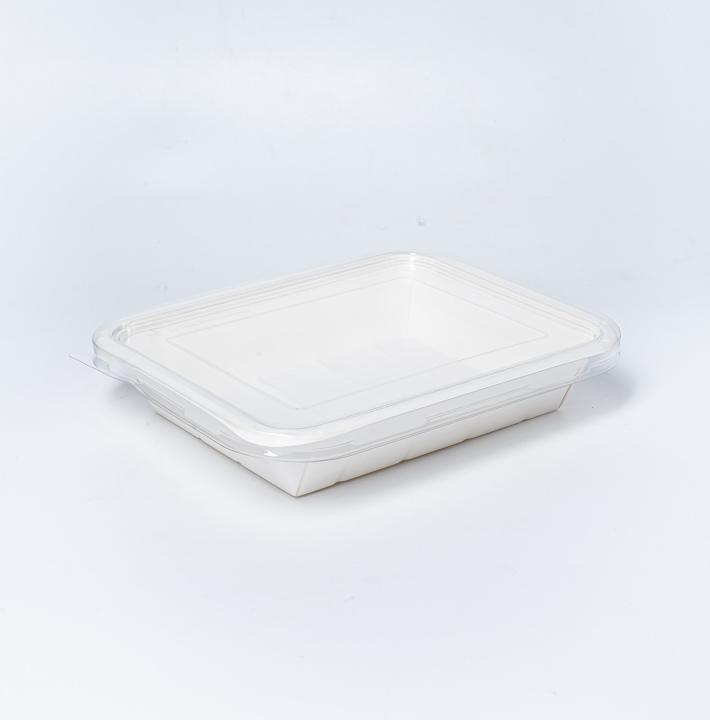 กล่องอาหารกระดาษ ฝาใส Eco Coated Hybrid 1600ml