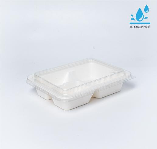 กล่องอาหารเยื่อธรรมชาติ Eco Coated Hybrid 3 ช่อง 1000ml