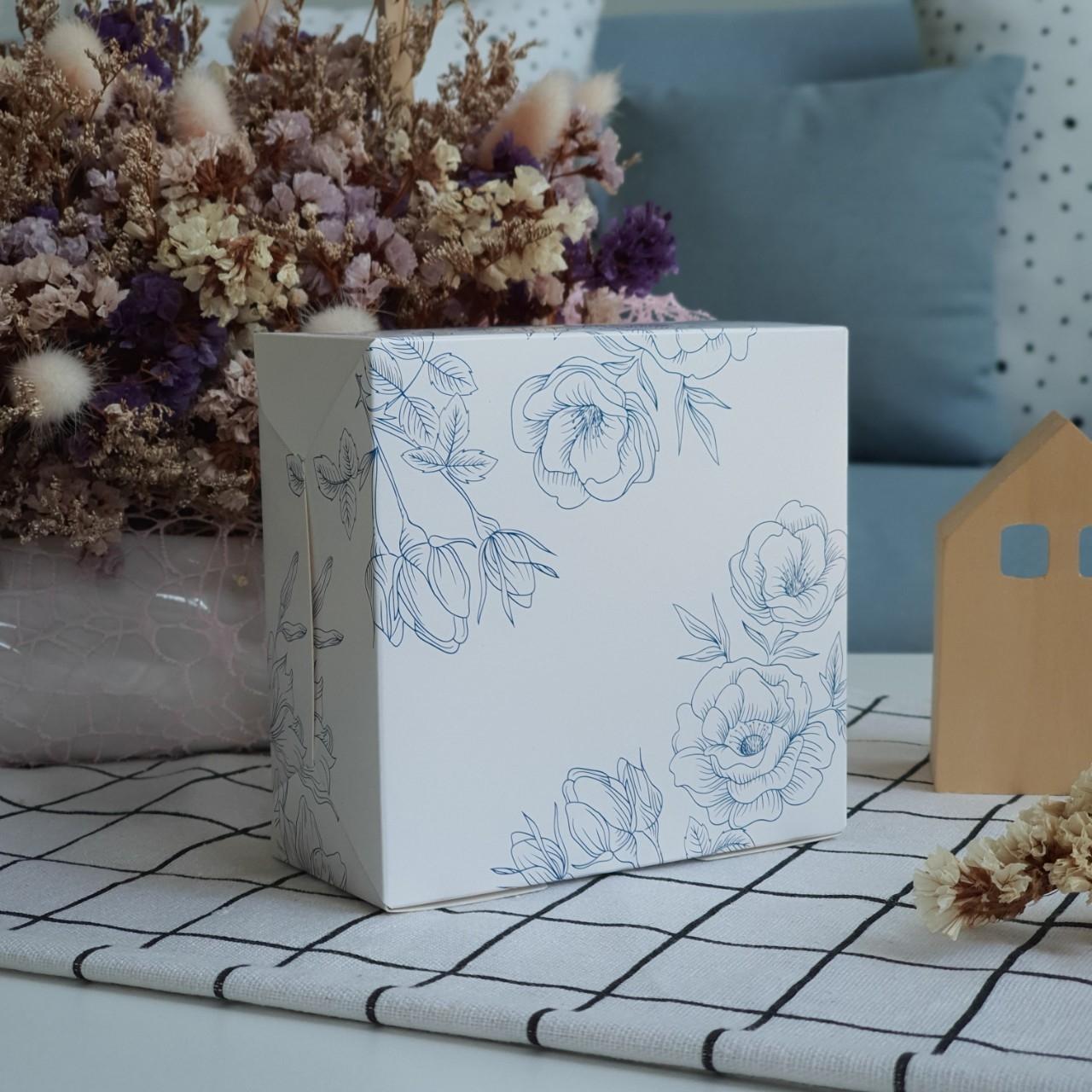 ECO Snack Box ทรงจตุรัส ลายดอกไม้