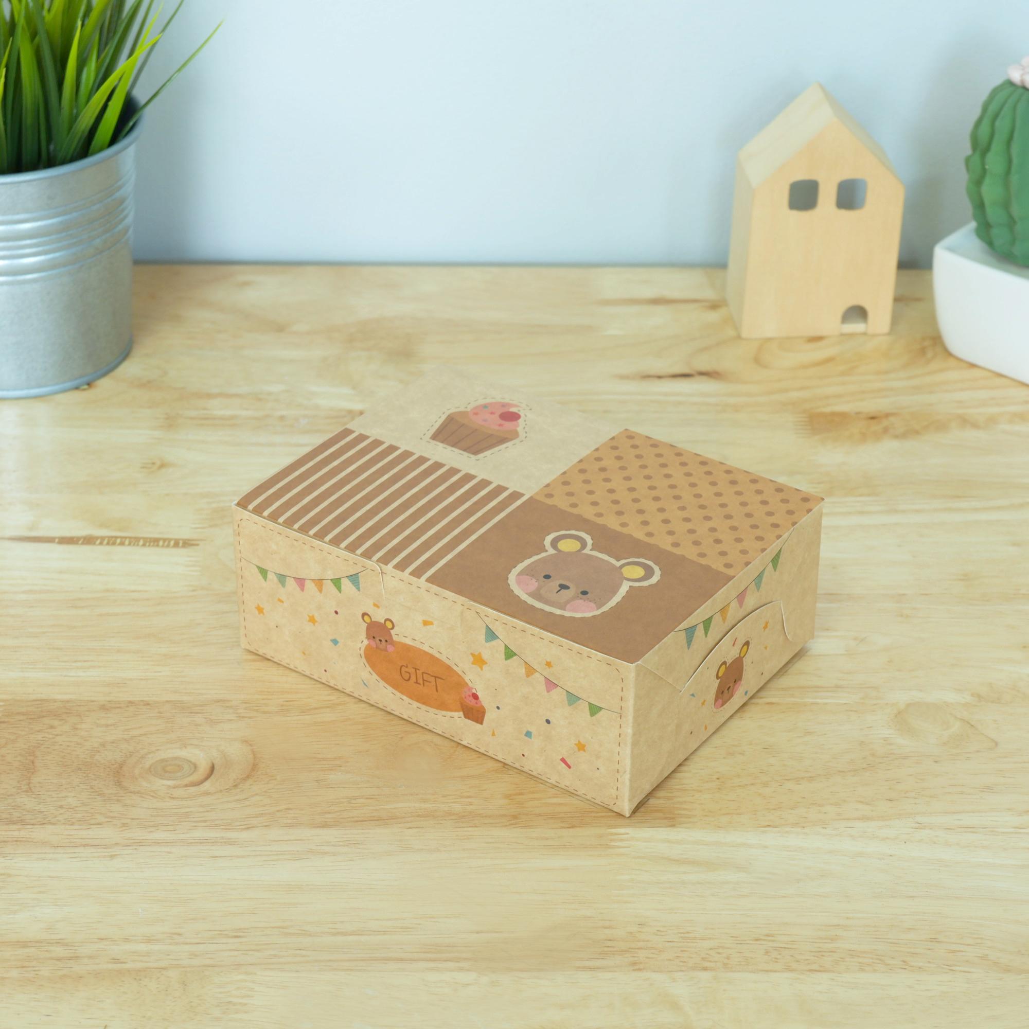 ECO Snack Box ทรงผืนผ้า ลายหมี คัฟเค้ก