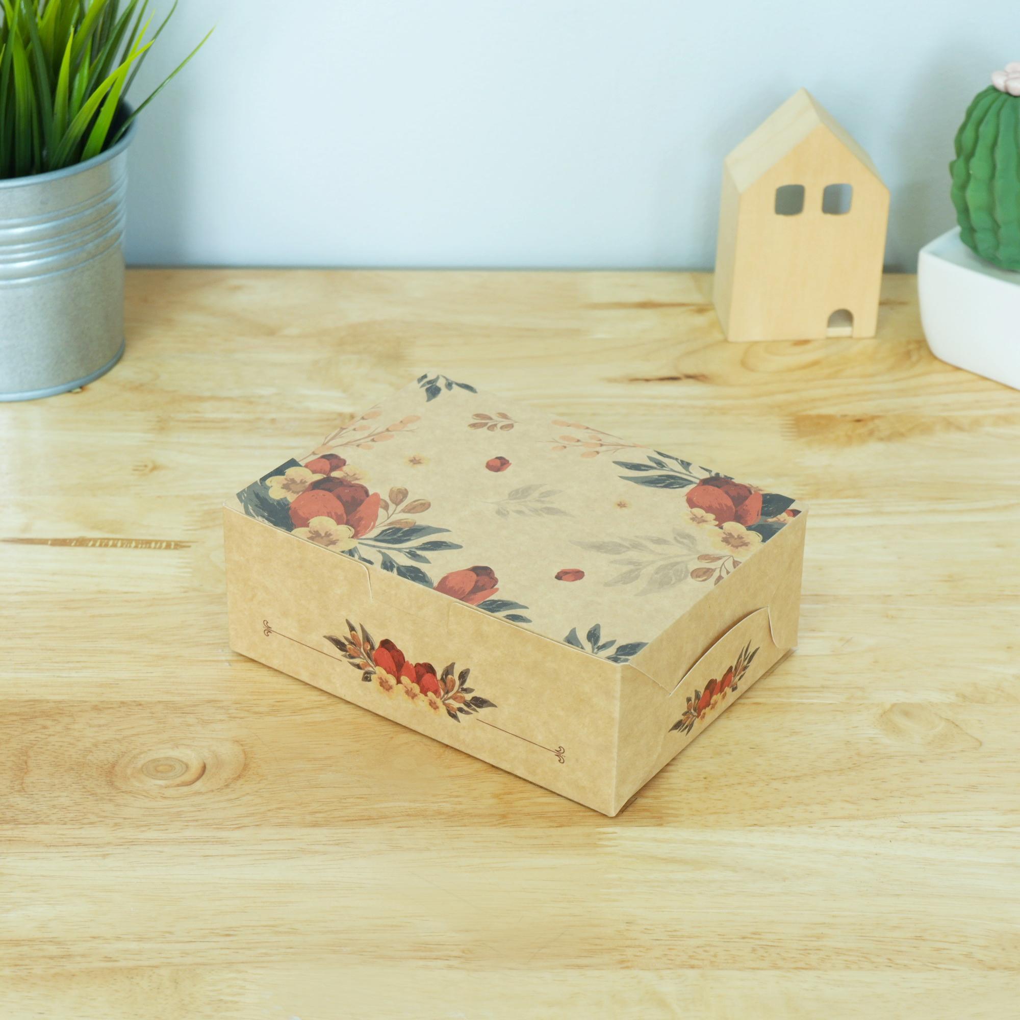 ECO Snack Box ทรงผืนผ้า ลายดอกไม้คลาสสิค