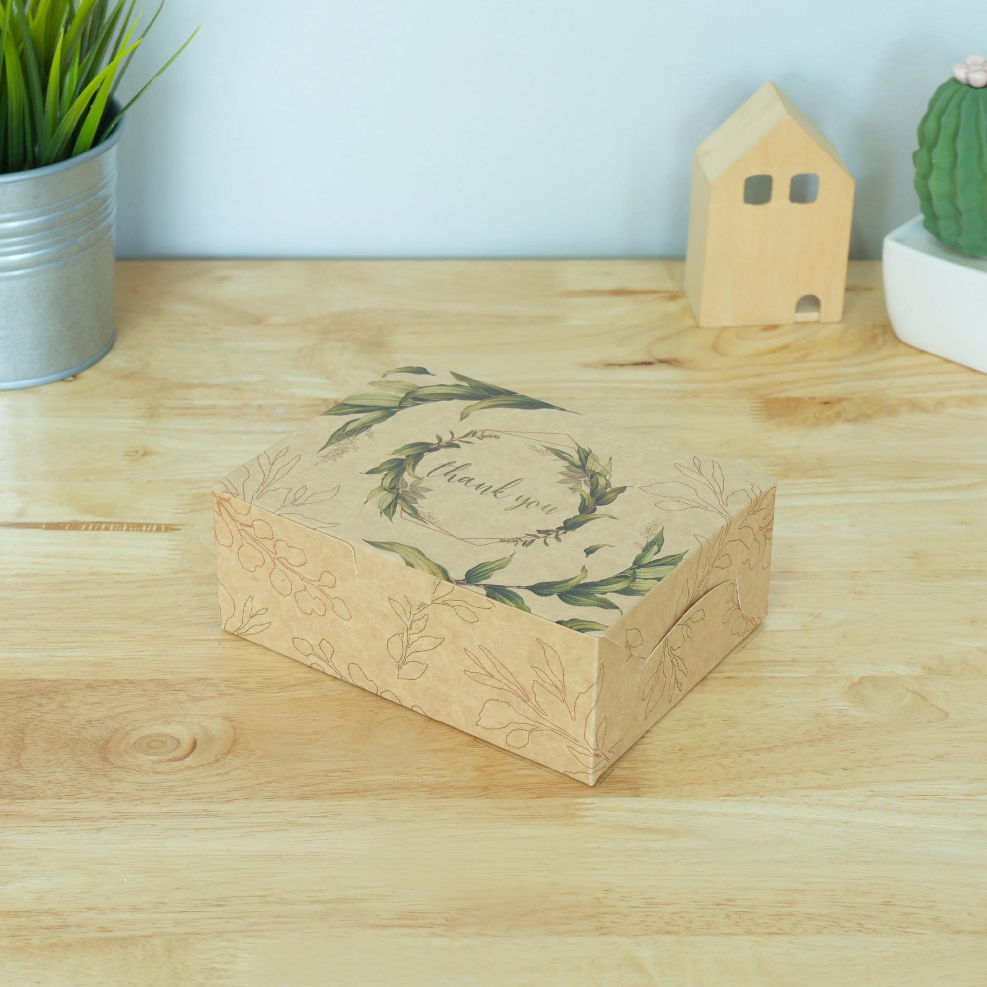ECO Snack Box ทรงผืนผ้า ลายไบไม้ แบบ 1