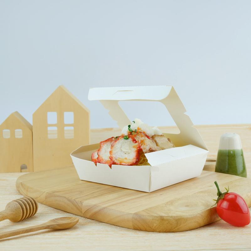ECO กล่องอาหารกระดาษ 500ml สีขาวนวล เจาะหน้าต่าง