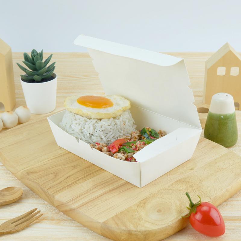 ECO Snack Box ทรงผืนผ้า 600ml สีขาว