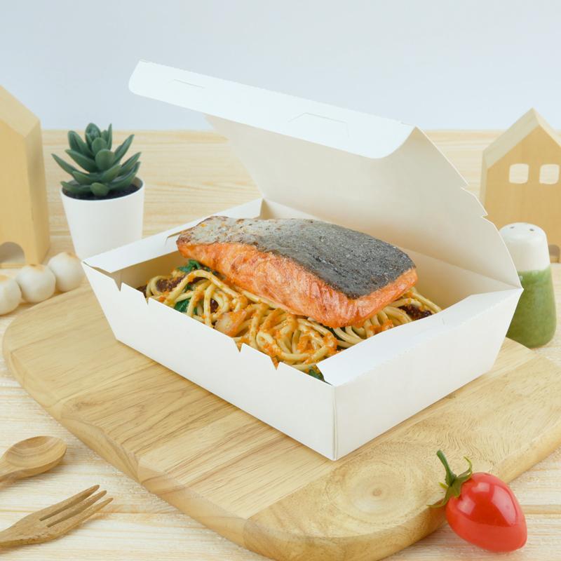 ECO Snack Box ทรงผืนผ้า 1200ml สีขาว