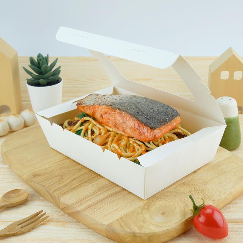ECO Snack Box ทรงผืนผ้า 1200ml สีขาว เจาะหน้าต่าง