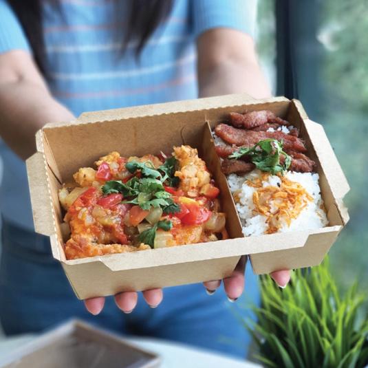 กล่องอาหารกระดาษ Eco 2 ช่อง พร้อมฝา 1200ml สีคราฟท์