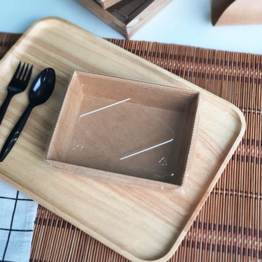 กล่องอาหารกระดาษ Eco พร้อมฝา 900ml สีคราฟท์