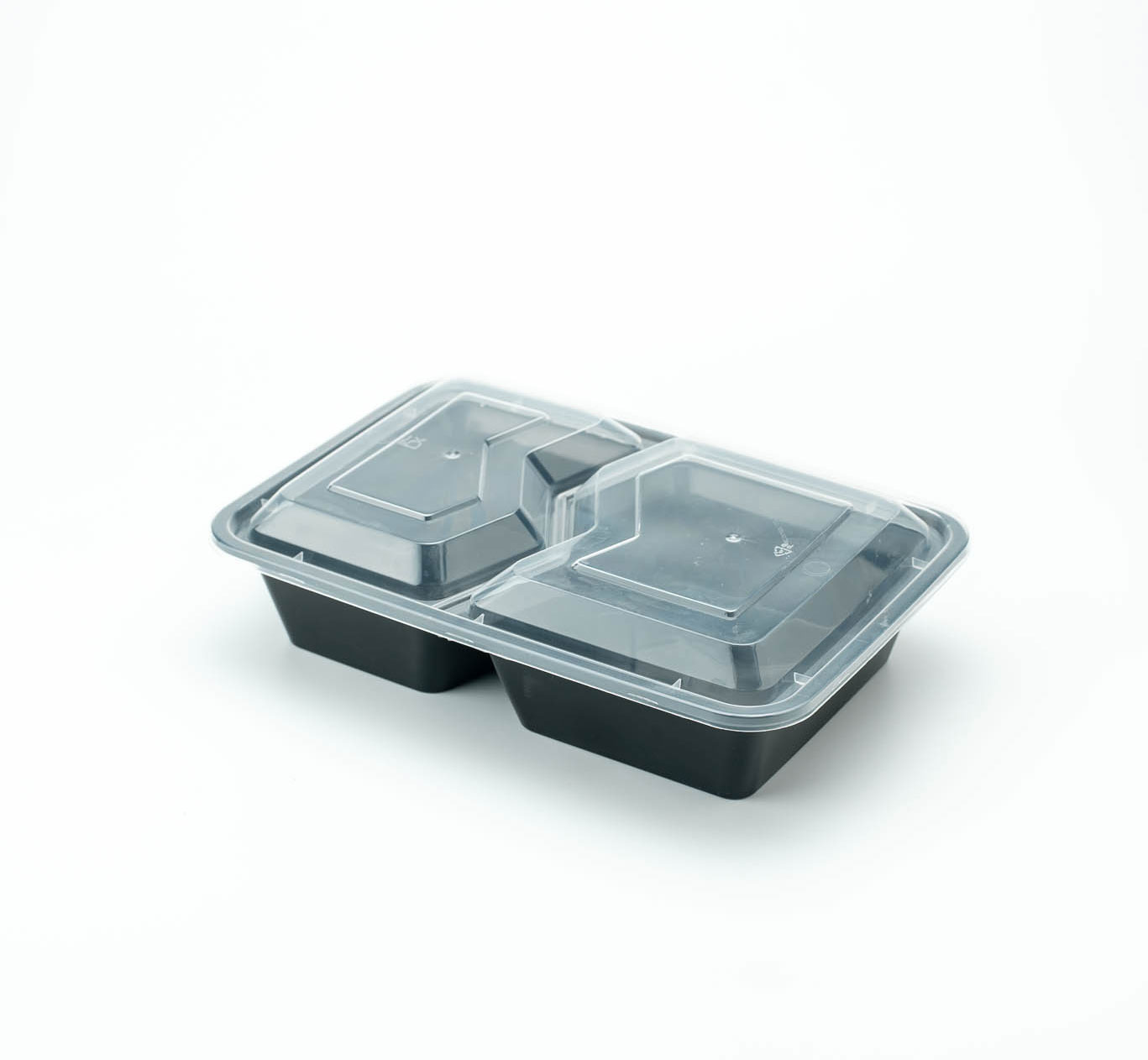 กล่องอาหารพลาสติก 2 ช่อง simple 1000ml ช่องหยัก