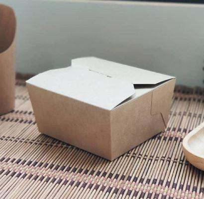 กล่องอาหารฝาพับ 26oz สีน้ำตาลคราฟท์ (ทรงเตี้ย)