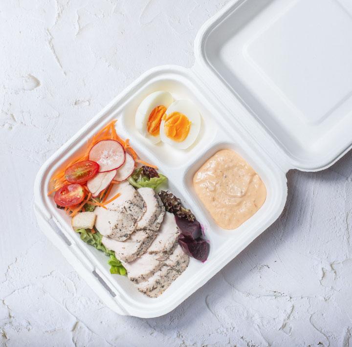 กล่องอาหารเยื่อธรรมชาติ ECO 3 ช่อง 750ml