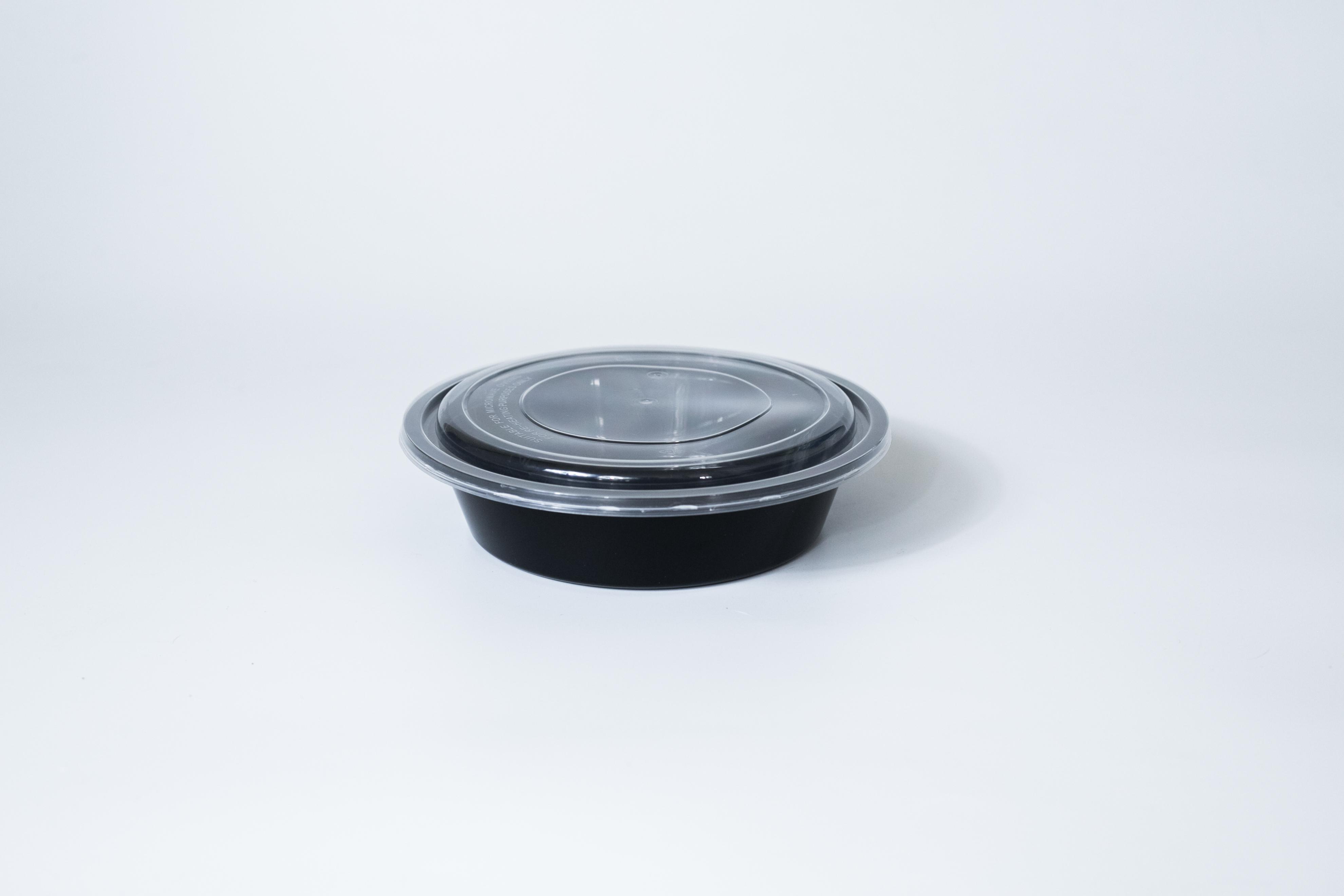 ชามพลาสติกพร้อมฝา premium 700ml สีดำ