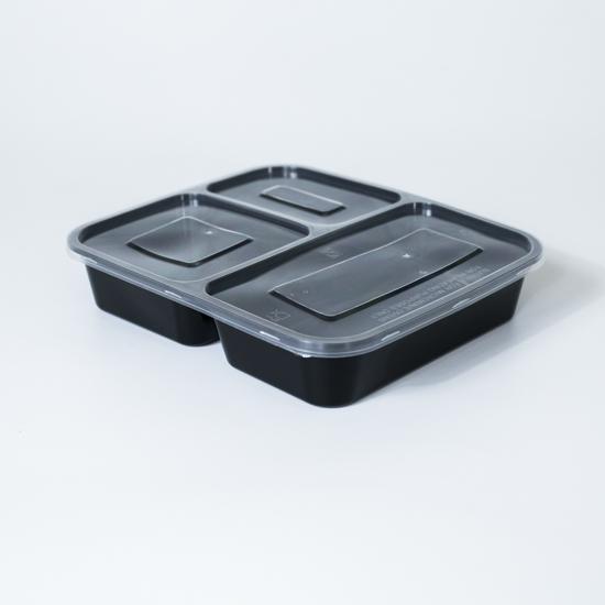 กล่องอาหารพลาสติก 3 ช่อง Premium 1000ml ฝาป้องกันน้ำหกข้ามช่อง
