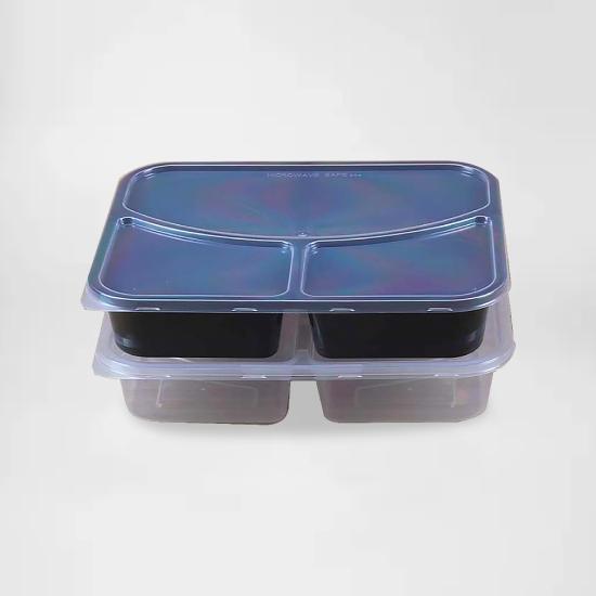 กล่องอาหารพลาสติก 3 ช่อง premium 850ml (ช่องโค้ง) - 250 ชิ้น/ลัง**